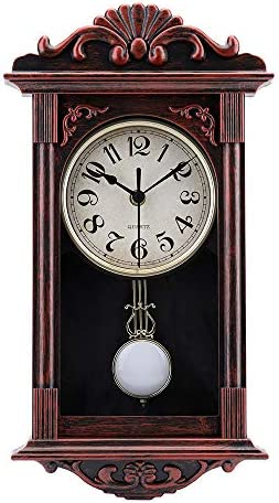 Amazon Com Pendulum Wall Clock Retro Quartz Decorative Battery Operated Wall Clock For Living Room Office Home Decor 16 Inch Bronze Kitchen Dining
