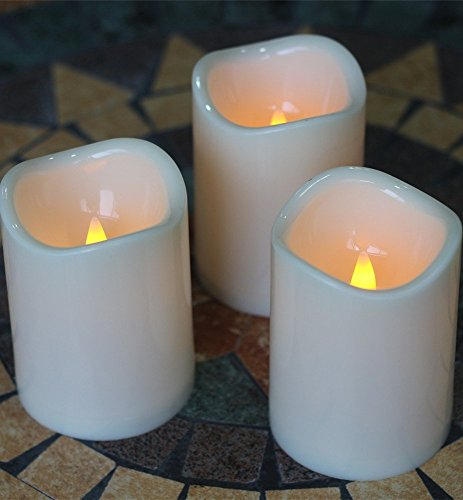 Outdoor Indoor Candles Waterproof Battery Operated candles with Remote timer 3 x 4 Inch Flickering Flameless candles set of 3