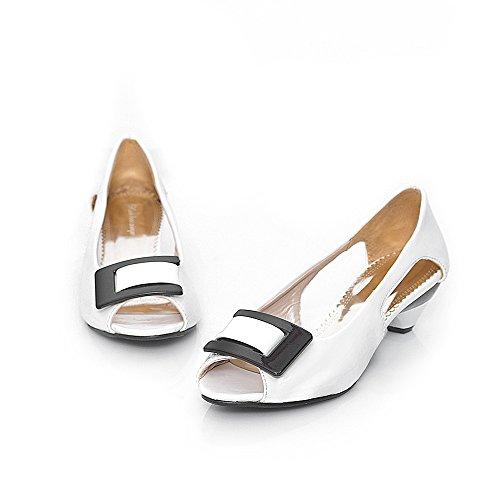 Creux Poisson Peu Grande Sandales Bouche Chaussures White Unique Taille Bouche Femmes Talon Profonde Bas wRFn7Hq