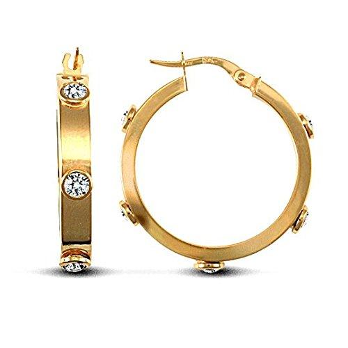 Jewellery World Bague en or jaune 9carats 4mm Transparent Lot de pierre boucles d'oreilles créoles