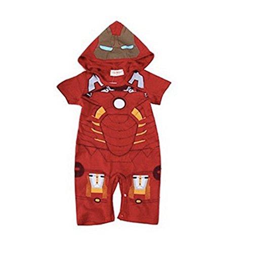 Iron Man Costume Gray (Newborn Baby Boys Captain America IronMan Hoodie Costume Jumpsuit Bodysuit (90,)