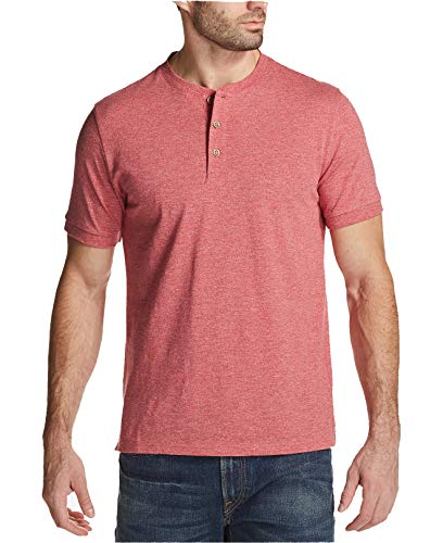 Weatherproof Vintage Men's Textured Jersey-Knit Henley (Rio Red, XXX-Large) - Mens Textured Knit Henley