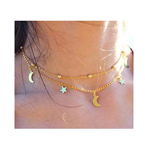 Brishow Multi-Layer Necklace Gold Choker Star Moon Pendants Necklaces for Women and Girls