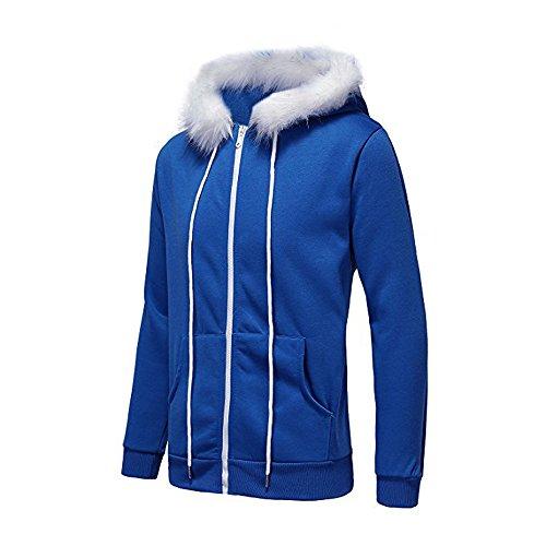 CUCUHAM Men Women Cosplay Blue Fleece Hooded Jacket Sweater Costume Warm Sport Coat(Blue,XX-Large) ()