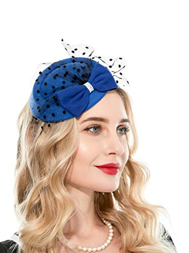 Fascinator Hats for Women Pillbox Hat with Veil Headband and a Forked Clip Tea Party Headwear (Z1-Royal Blue)