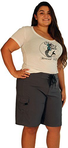 - Maui Mermaids Womens Plus Size Bathing Suit Swim Shorts Board Shorts (5X, Ebony)