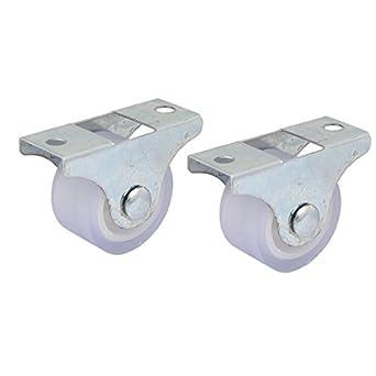 DealMux Muebles de la carretilla 1 pulgada Dia del hierro Placa superior silenciosa PVC fijo 2pcs de las ruedas giratorias: Amazon.es: Industria, ...