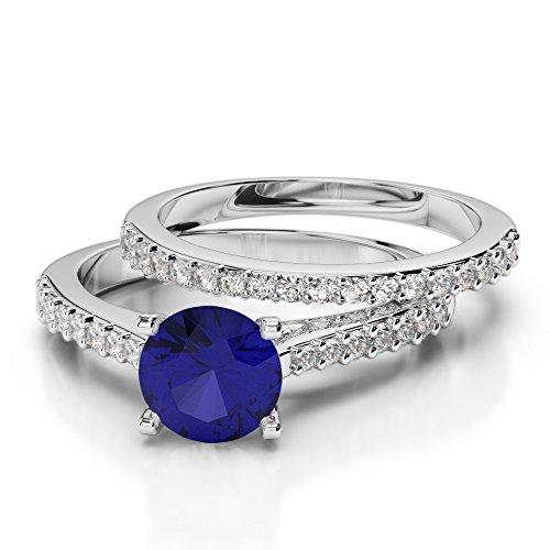Or blanc 18carats 1CT G-H/VS sertie de diamants ronds Cut Saphir et mariée Bague de fiançailles et ensemble de Agdr-2039