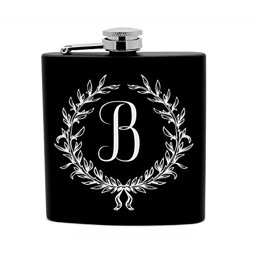 Personalized Flask 6 oz Black Stainless Steel Laser Engraved Monogrammed Initial