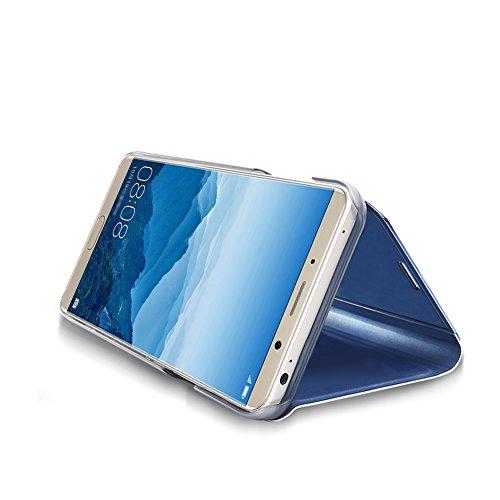 Huawei Mate 10 Hybrid Funda de Cuero +PC, Vandot Ultra Slim Ligero Flip Funda con tapa con Smart Clear S-View, [Espejo Efecto] [Auto-Sleep/Wake-up] [Función Atril] 360 Protección de Cuerpo Completo St Clear View-5