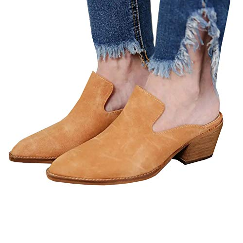 (Womens Pointed Toe Slip on Mules Western Cutout Chunky Stacked Mid Heel Slides Shoes Brown )