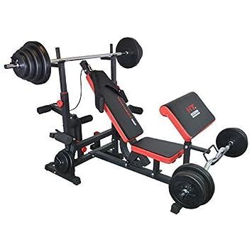 TrainHard - Banco de pesas Fuerza Station Fitness Center Negro/Rojo Con Largo de, Curl de y barras cortas y discos de 130 kg: Amazon.es: Deportes y aire ...