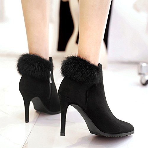 Ladies Ankle Boots Leather Faux Fur Suede High Heels Warm Casual Comfort Side Zip Shoes 35 Gcna4