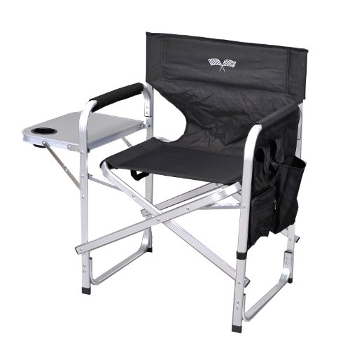 Stylish Camping SL1204BLACK/FLAG Full Back Folding Director's Chair (Compact Tables And Chairs)