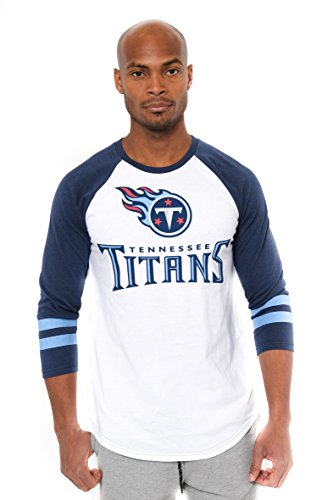 NFL Men's Tennessee Titans T-Shirt Raglan Baseball 3/4 Long Sleeve Tee Shirt, Large, White