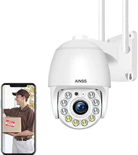 AINSS Outdoor WiFi Surveillance Camera, CCTV Camera, 1080P floodlight Camera, for Home Security System, 2-Channel Audio, Motion Detection, Night Vision, Waterproof, SD Card Slot [WiFi-Camera+64GB]