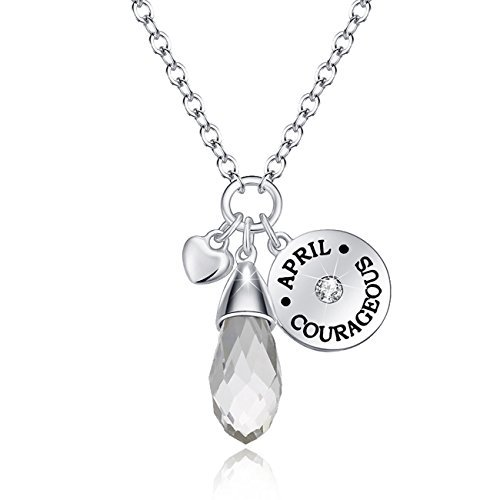 Simulated Diamond Birthstone Necklace Teardrop Pendant Elements Crystal April Anniversary Gifts For Her Valentine's Day Gifts Birthday Gifts for Wife Girlfriend Women Girls Romantic Gifts For Her