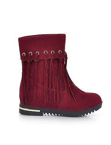 Cn35 Uk6 Xzz Vestido Beige Beige Rojo Punta us5 Casual Uk3 5 Sintético De 5 Negro Ante Eu36 Cn39 Redonda Zapatos La Robusto Eu39 Botas A Mujer Red Tacón us8 Moda CTC1nrq