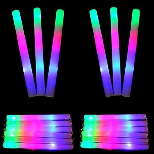 Taotuo 12 Pack LED Foam Sticks, 20pcs Balloons, Light Up Toy Set, 3 Mode Flashing Foam Wands Colorful Glow in The Dark Party Supplies for Wedding, Birthday, Festivals