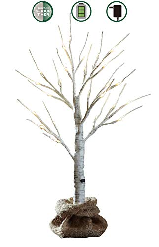 Pine White Bonsai Tree (LOFTPLUS LED Birch Tree Hand-Painted Bonsai String Light 24 LED for Indoor Use Warm White Battery-Operated AC Adapter Burlap Sack Included - 24inch Tall)