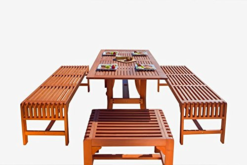Malibu V189SET12 Eco-Friendly  5 Piece Wood Outdoor Dining Set with Curvy Table and Backless Benches (Cheap Sets Patio Sale)