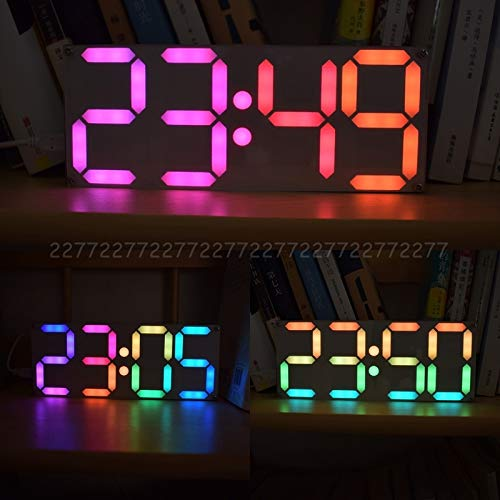 (Alarm Clocks - Large Inch Rainbow Color Digital Tube Ds3231 Clock Diy Kit With Customizable Colors Electronic Au24 - Under Clocks Impaired Dual Voice Colorful Phone Vintage Echo Outside Large Fol)