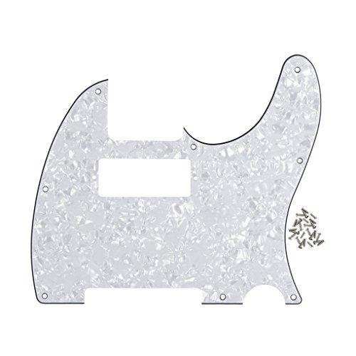Tele Style Pickguard (IKN Tele Style Guitar Pickguard Telecaster Style Scratch Plate w/ Mini Humbucker White Pearl 4Ply, with Pickguard Screws)