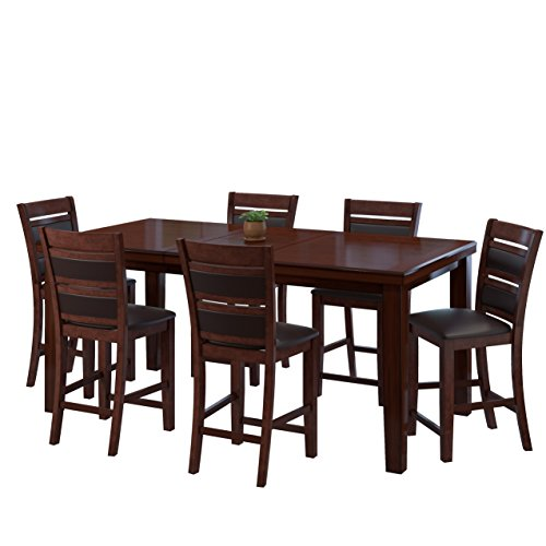 5pc Cappuccino Finish Dining Table 4 Microfiber Parson Chairs Set B00