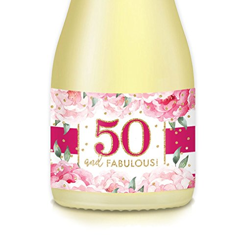 Ladies 50th BIRTHDAY Party Ideas, Decorations Mini Champagne & Wine Bottle Labels, 50 & Fabulous! Set of 20 Lovely Feminine Pink Decals, Mom, Wife, Sister, Friend, Coworker Celebrating Her FIFTIETH! (Something Old New Borrowed Blue Gift Ideas)