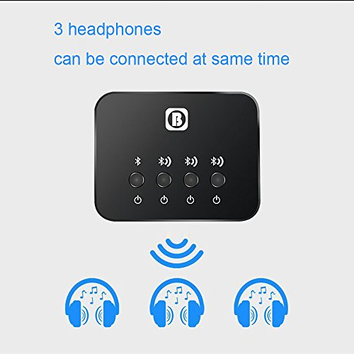 Bluetooth Transmitter Receiver for TV PC iPod Audio Music Adapter with Hands-free Calling 3.5mm Stereo Jack for Home and Car Audio System Designed for Pairing Three Devices