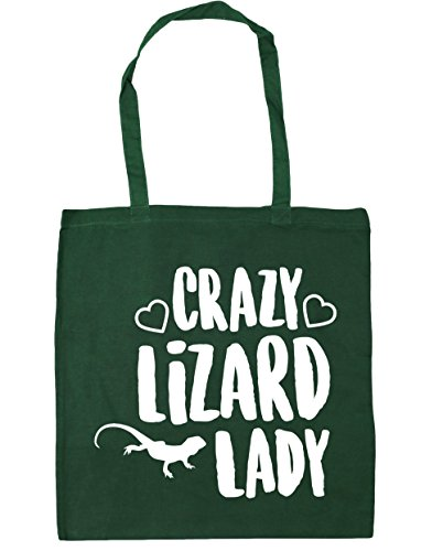 10 Bag Beach Crazy lady 42cm HippoWarehouse Shopping Green lizard Tote litres Bottle x38cm Gym f0vnYx