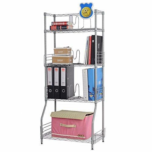 Shelving Metal Parts Organization Storage Shelf Rack Sliver Color For Bathroom Kitchen Living Room 4 Tier Wire Easy Assembly