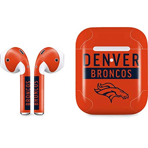 Skinit Denver Broncos Orange Performance Series Apple AirPods 2 Skin - Officially Licensed NFL Audio Sticker - Thin, Case Decal Protective Wrap for Apple AirPods 2