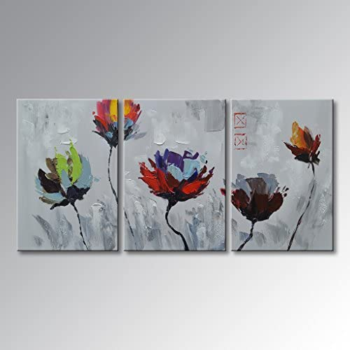 EVERFUN ART Hand Painted Modern Wall Art Abstract Impressionism Flower Oil Painting on Canvas Contemporary Artwork Floral Decorations Framed Ready to Hang