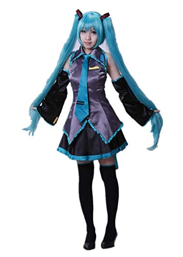 New Hatsune Miku Maid 7piece Suit Cosplay Halloween Costume Comic-con Party Show (M) -