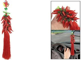 uxcell Car Interior Red Glass Pepper Pendant Hanging Decoration 16.1 Length