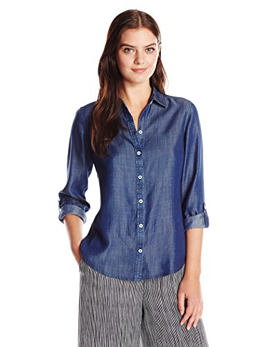 Foxcroft Women's Petite Size Long Sleeve Zoey Denim Tencel Shirt, Navy, 4P