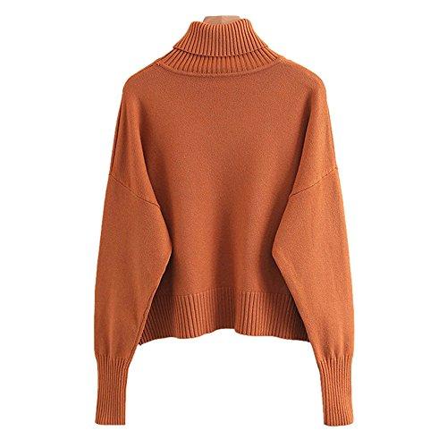 pull vrac en solides sweater et laine les Couleur couleurs high Caramel pochette collar girl grande en l'hiver L'automne knit 7wqSOnaO