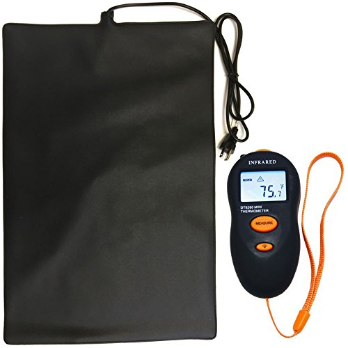 Reptile Heat Mat Kit - 40 Watt Intellitemp (23.6'' x 15.75'') & Temp Gun Kit by Big Apple Pet Supply