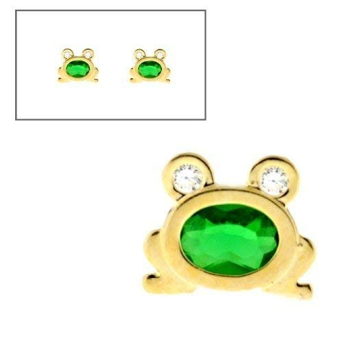 10K Yellow Gold Simulated Emerald CZ Frog Post Earrings