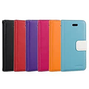 SJT Solid Color Buckle PU Leather Full Body Case with Stand And Card Holder for iPhone 5/5S (Assorted Colors) , Blue