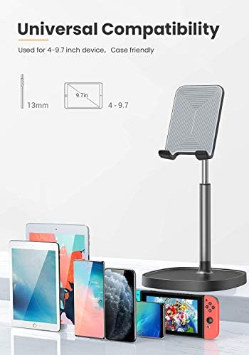 Cell Phone Stand,Angle Height Adjustable LISEN Cell Phone Stand For Desk,Thick Case Friendly Phone Holder Stand For Desk, Compatible with All Mobile Phones,iPhone,Pixel,iPad,Tablet(4-10in) 41VEK7rCi9L