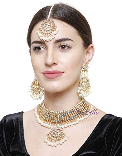 YouBella Jewellery Bollywood Ethnic Bridal Wedding Traditional Choker Indian Necklace Set with Earrings for Women (White)