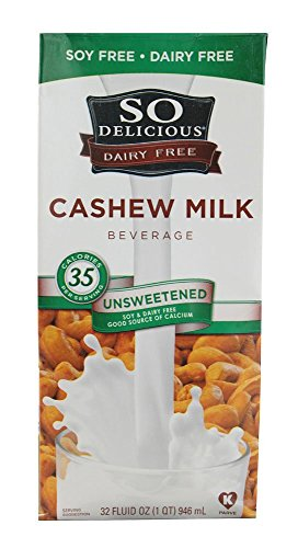 So Delicious Unsweetened Cashew Milk, 32 Fluid Ounce -- 6 per case.