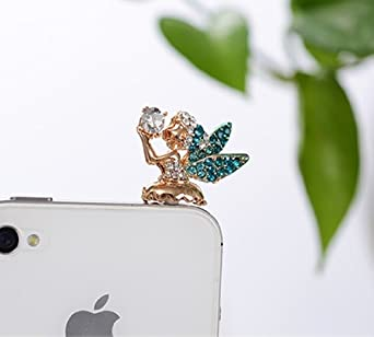 Blue Big Mango Cute Crystal Angel Anti Dust Plug Stopper // Ear Cap // Cell Phone Charms for Apple iPhone 5 5S,iPhone 4 4s iPad Mini iPad 2 iPod Touch 5 4,Samsung Galaxy S3 S4 Note3 Note 2,HTC and Other 3.5mm Earphone Jack Phones