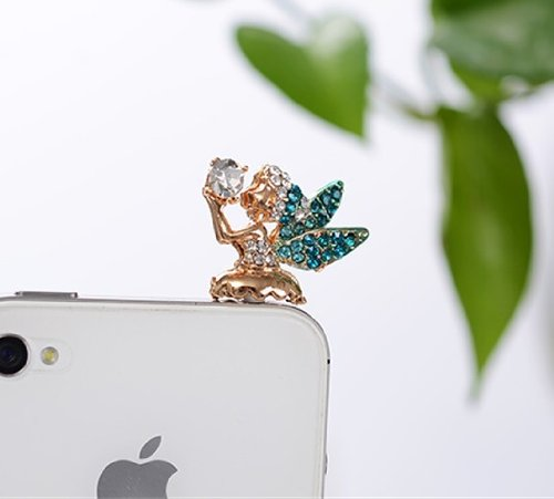 Big Mango Cute Crystal Angel Anti Dust Plug Stopper / Ear Cap / Cell Phone Charms for Apple iPhone 5 5S,iPhone 4 4s ,iPad Mini iPad 2 ,iPod Touch 5 4,Samsung Galaxy S3 S4 Note3 Note 2,HTC and Other 3.5mm Earphone Jack Phones ( Blue )