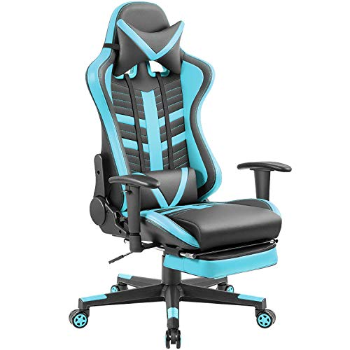 Homall Gaming Chair Ergonomic High-Back Racing Chair Pu Leather Bucket Seat,Computer Swivel Office Chair Headrest and Lumbar Support Executive Desk Chair with Footrest, Black/Blue (Gaming Computer Chair)