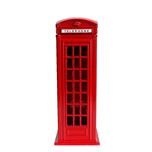 (lishirao Ornament,Phone Booth London Street Savings can Crafts Office Desktop Ornaments)