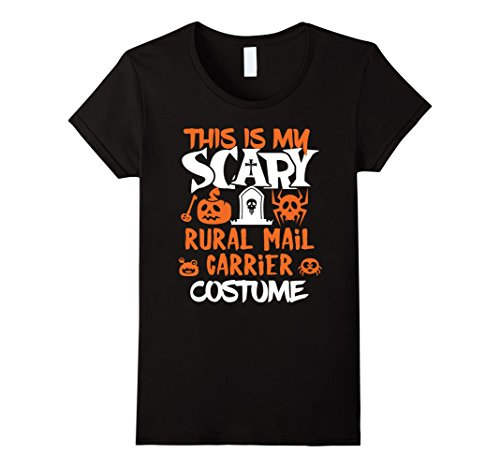 Womens Rural Mail Carrier Scary Halloween Costume Party T-Shirt Large Black (Mail Carrier Costumes)