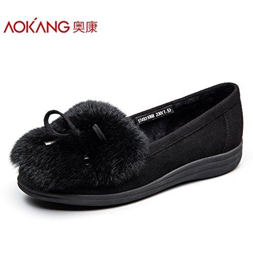 y Ocio Aemember mujer Otoño los femeninos de de 40 e algodón zapatos de fondo mujer zapatos Invierno negro singles zapatos de Colegio de plano TwYxTprtqF